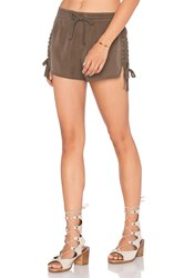 Pam And Gela Lace Up Side Tencel Short Army