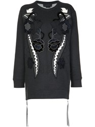 Diesel Black Gold Velvet Patchwork Sweatshirt Grey