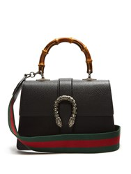 Gucci Dionysus Bamboo Handle Medium Leather Tote Black