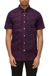 Tavik Men's 'Porter' Print Poplin Short Sleeve Woven Shirt Mulberry Static