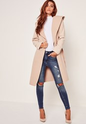 Missguided Hooded Faux Wool Duster Coat Camel