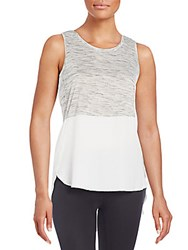 Rd Style Mixed Media Hi Lo Peplum Tank Oyster