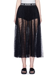 Chictopia Logo Waistband Floral Lace Midi Skirt Black