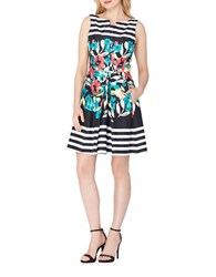 Tahari By Arthur S. Levine Plus Striped And Floral Fit And Flare Dress Black Ivory