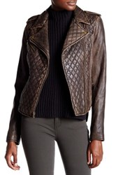 Levi's Genuine Leather Quilted Motorcycle Jacket Brown