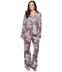 Carole Hochman Packaged Flannel Pajama Ribonned Carnations Women's Pajama Sets Multi