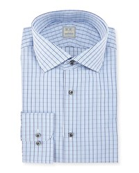 Ike Behar Check Woven Dress Shirt Blue Women's