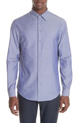 Emporio Armani Regular Fit Solid Dress Shirt Blue