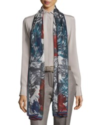 Loro Piana I Giardini Bizantini Soffio Cashmere And Silk Scarf Gray Red Grey Red
