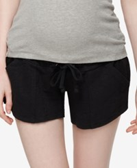 A Pea In The Pod Drawstring Maternity Shorts Black