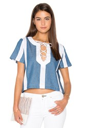Lucca Couture Textured Denim Combo Lace Up Top Blue
