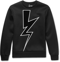 Neil Barrett Appliqued Bonded Jersey Sweatshirt Black