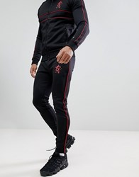 Gym King Skinny Red Piping Joggers In Black