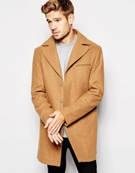 Esprit Wool Overcoat In Camel Tan