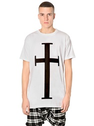 Long Clothing Cross Printed Jersey Oversized T Shirt