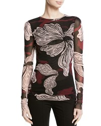 Fuzzi Crystal Embroidered Long Sleeve Tulle Top Vino