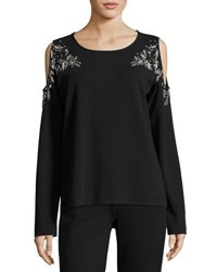 Joan Vass Beaded Open Shoulder Long Sleeve Top Black