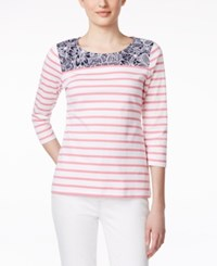 Charter Club Contrast Trim Striped Pullover Top Only At Macy's Pink