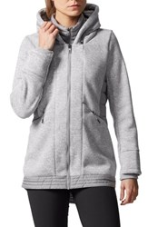 Adidas Women's Nuvic Hybrid 2 Fleece Puffer Jacket Medium Grey Heather Solid Grey