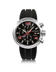 Locman Change Stainless Steel Round Case Men's Chronograph W Silicone And Leather Straps Black