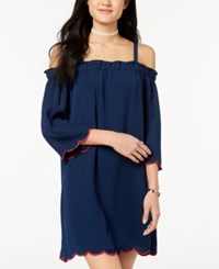 As U Wish Juniors' Scalloped Off The Shoulder Dress Navy Fuscia