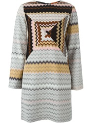 Missoni Zig Zag Print Shift Dress Brown