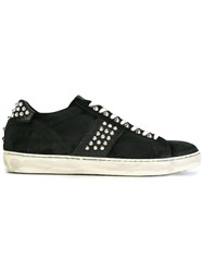Leather Crown Studded Lace Up Sneakers Black
