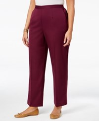 Alfred Dunner Plus Size Sierra Madre Collection Pull On Straight Leg Pants Wine