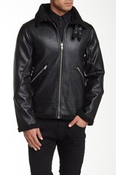 Members Only Fighter Pilot Faux Fur Lined Faux Leather Jacket Black