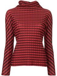 Issey Miyake Vintage Pleats Please Striped Roll Neck Top Red