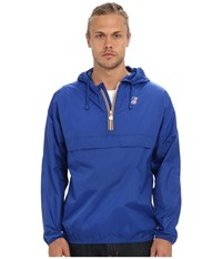 K Way Leon Klassic Waterproof Half Zip Jacket W Hood Royal Blue Men's Coat