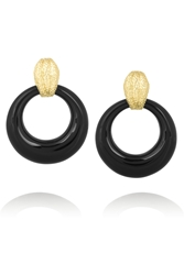 David Webb Doorknocker 18 Karat Gold Onyx Clip Earrings