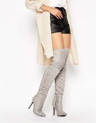 Truffle Collection Lace Up Over Knee Boot Grey Suede