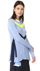 Versace Knit Chevron Sweater Light Blue