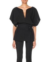 Givenchy Judo Sleeve Belted Sweater Black