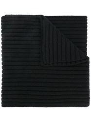 Stone Island Thick Ribbed Knit Scarf Black