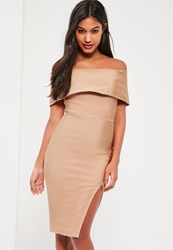 Missguided Nude Bandage Bardot Midi Dress Camel