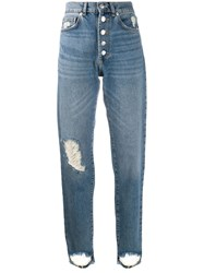 Zadig And Voltaire Distressed Mom Jeans Blue