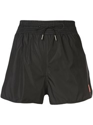 Off White Flared Runner Shorts Black