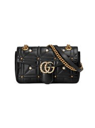Gucci Gg Marmont Matelasse Shoulder Bag Leather Pearls Metal Microfibre Black