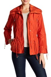 Cole Haan Front Zip Drawstring Jacket Petite Orange