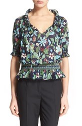 Women's Tory Burch Floral Print Smocked Peasant Top Garden Wisteria