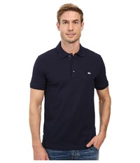 Lacoste Stretch Petit Piqu Slim Fit Polo Navy Blue Men's Short Sleeve Pullover