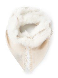 Gucci Fur Trim Shawl White