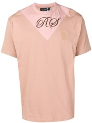 Fred Perry Raf Simons X Logo Colour Block T Shirt Pink