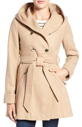 Jessica Simpson Women's Double Breasted Hooded Trench Coat Camel