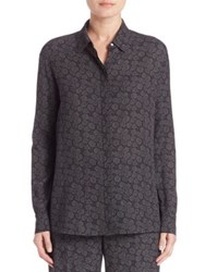 Vince Silk Printed Button Front Blouse Black Shark