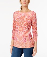 Charter Club Petite Printed Boat Neck Top Created For Macy's Porcelian Rose Combo