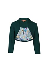 Jolie Moi High Collar Bolero Jacket Teal