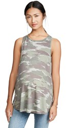 Ingrid And Isabel Active Crossback Tank Top Green Camo